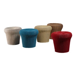 Egon Eiermann set of five rattan stools, Germany, 1950s