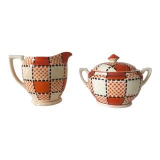 1940s Vintage Art Deco Kikusui Japan Orange Plaid Ceramic Cream & Sugar - 3 Piece Set