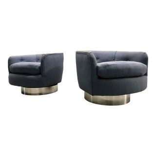 Milo Baughman Chrome Swivel Chairs- A Pair