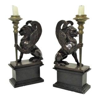 Griffin Bronze Candlesticks - A Pair