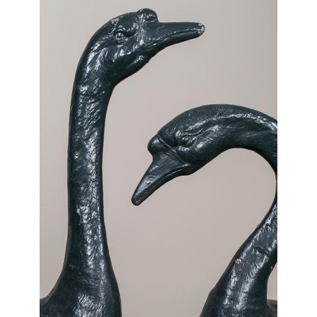 Pair of Vintage English Zinc Garden Geese circa 1940 - Image 9 of 10