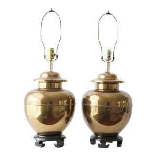 Vintage Brass Ginger Jar Lamps - A Pair