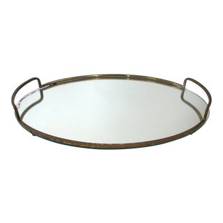 Antique Art Deco Mirrored Brass Tray
