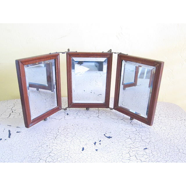 Victorian Antique Tri-Fold Wooden Travel Mirror - Image 2 of 11