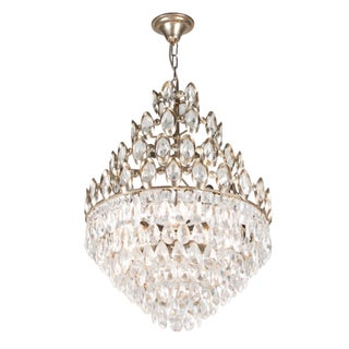 Bronze and Faceted Crystal Chandelier, Austrian, 1960s