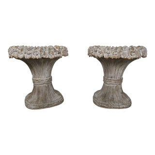 Wood Carved Harvest Wheat Planters - A Pair