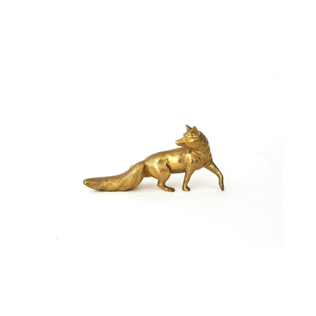 Image of Vintage Brass Fox Statue