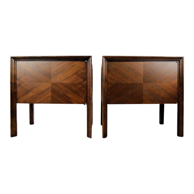 Image of Edmond J. Spence Mahogany Nightstands - A Pair