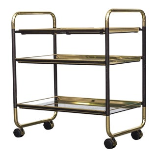1970's Black and Brass Rolling Bar Cart
