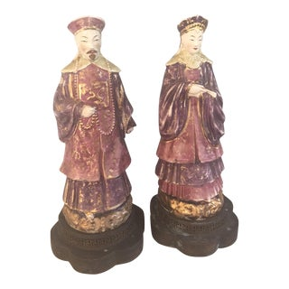 Chinese Ancestral Figural Lamps - Pair