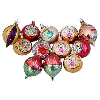 1950s Fancy Christmas Ornaments w/Box - Set of 12