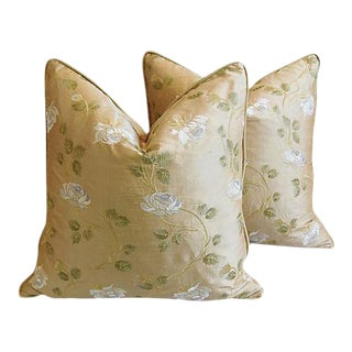 """Custom Tailored Embroidered White Rose Silk Feather/Down Pillows 24"""" Square - Pair"""