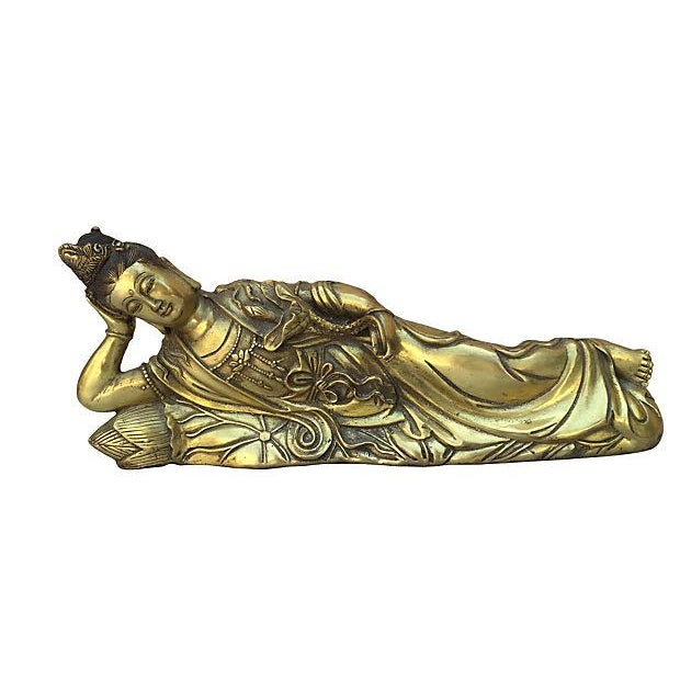 Quan Yin Brass Reclining Statue - Image 1 of 7
