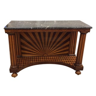 Parquetry Inlaid Neoclassical Marble Top Console