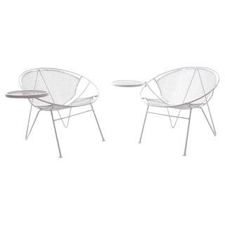 Rare Pair of Hairpin Leg Salterini Patio Lounge Chair/Chaise, Detachable Ottoman