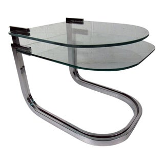 Pair Modern Chrome and Glass Nesting Tables by Design Institute of America
