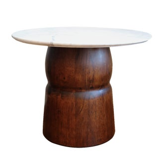 Marble Top Wooden Drum Side Table