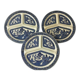 French Porcelain Chinoiserie Grill Plates - Set of 3.