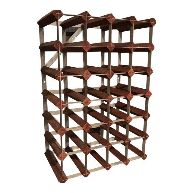 Mid-Century Wood and Metal Wine Rack - Image 1 of 8