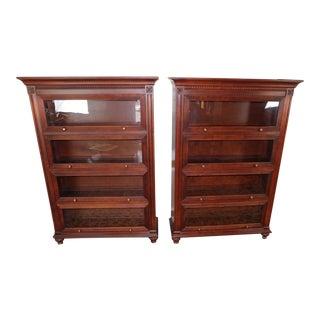 Ethan Allen Cinnabar Marshall Barrister Bookcases - A Pair