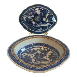 Antique Blue & White Chinoiserie Tureen