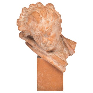 Antique Terracotta Bust of Beethoven, Signed M Boulaine