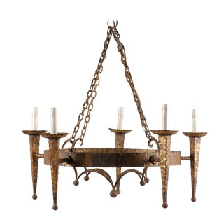 French Iron Five-Light Vintage Circular Chandelier