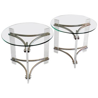 Charles Hollis Jones Lucite & Chrome Side Tables - A Pair