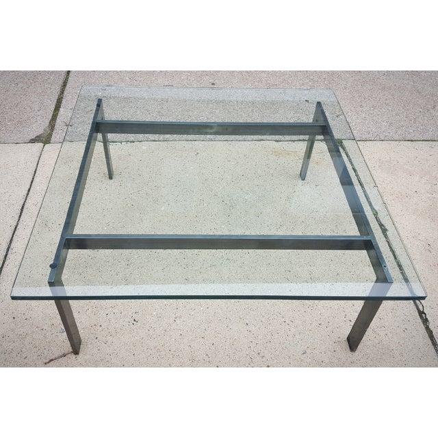 Mid-Century Modern Metal Frame Glass Coffee Table