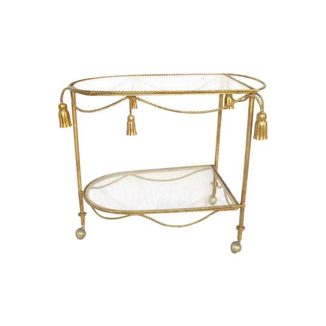 Hollywood Regency Gold Leaf Cocktail Cart - Image 1 of 7