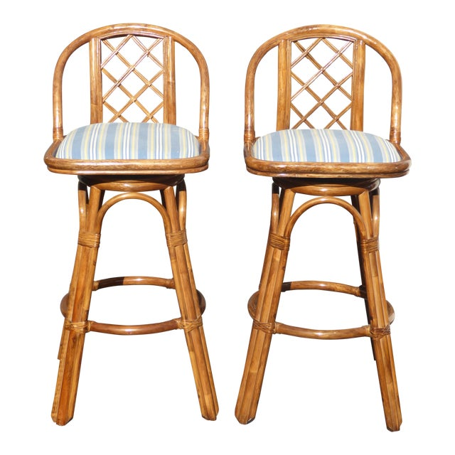 Vintage Tiki Palm Beach Bamboo Rattan Bar Stools - A Pair - Image 1 of 10