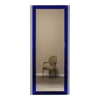 Vintage Italian Cobalt Glass Framed Mirror circa 1960