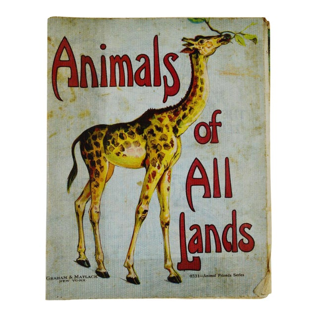 """Animals of All Lands"" Linen Children's Book - Image 1 of 11"