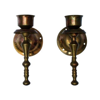 Victorian Gothic Regency Deco Brass Candle Sconces