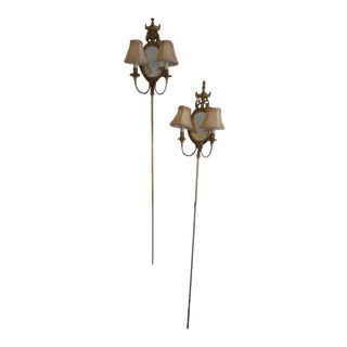 French Gold Mirror Wall Sconces - A Pair