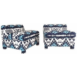 Ikat Slipper Chairs in Quadrille - Pair