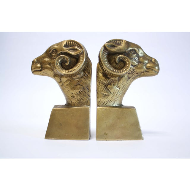 Image of Brass Ram Bookends - A Pair
