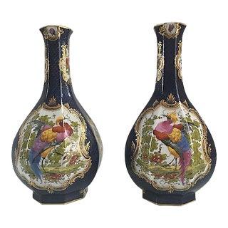 Antique Birds of Paradise Blue Vases - A Pair