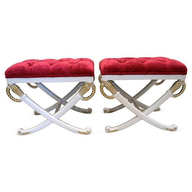 Hollywood Regency Sword Stools - Pair - Image 2 of 4