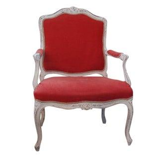 Vintage Coral Pink Velvet Bergere Armchair