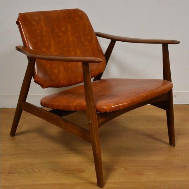 Brown Vinyl Lounge Chair - Image 2 of 9