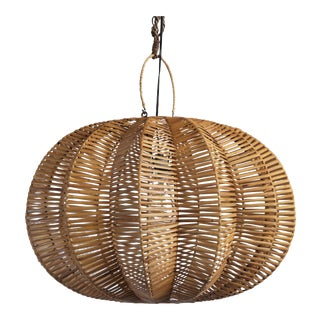 Split Stained Rattan Pumpkin Lantern 24""