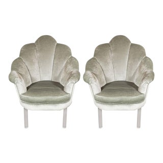 1940s Hollywood Shell Occasional Chairs with Channel Tufting and Lucite Legs