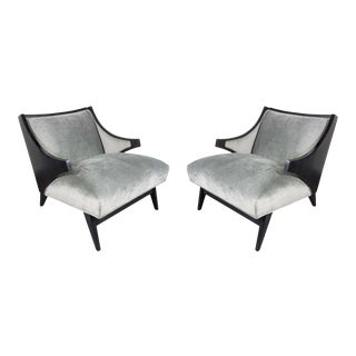 Gorgeous Pair of Mid-Century Modernist Stylized Sloped Klismos Form Chairs