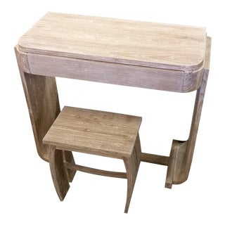 Pale Teak Wood Writing Desk & Stool