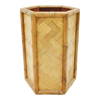 Vintage Faux Bamboo Waste Basket