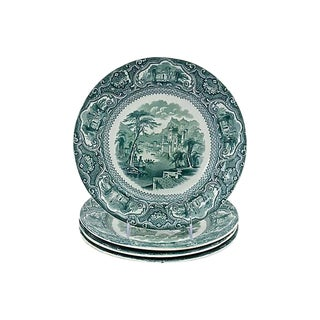 1840s Green English Transferware Plates - Set of 4