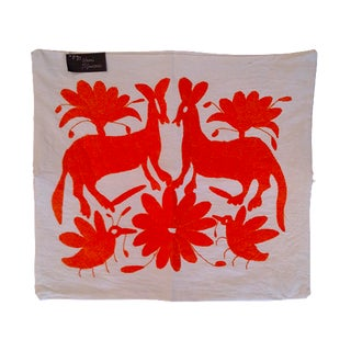 Otomi Orange Pillowcase Handmade in Mexico