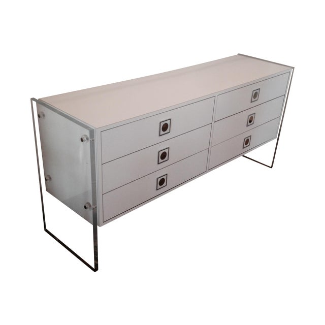 Image of Lacquered Thick Lucite Panel Credenza Dresser