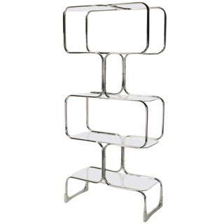 Chromed Steel & Glass Four Shelf Etagere By Tricom, Italia.